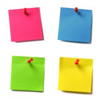 Picture of four colorful Post-It notes