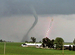 Picture of a tornado and lightning strike