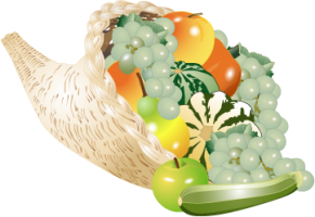 A colorful cornucopia with grapes, gourds, apples, and other fruit