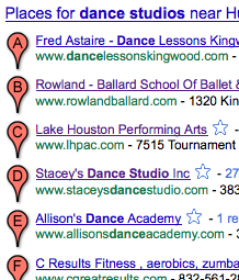 Example GooglePlaces listing