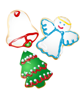 Three holiday cookies - a christmas tree, angel, and bell