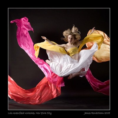 IMAGE Dancer Natasha Czarniewy caught mid-air in a tangle of scarves by Jim (Markland) Rowbotham at a Lois Greenfield Workshop, New York, NY. IMAGE