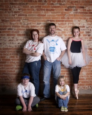 IMAGE Brian, his family, plus friend and Dominics Dreams supporter Allie Parsons IMAGE