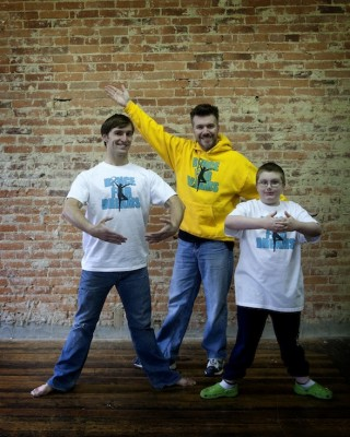 [image] Dance instructor Michael Patterson, Brian and his son, Dominic [image]
