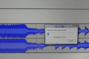 IMAGE Image of an Audacity music edit file being exported as an MP3. IMAGE