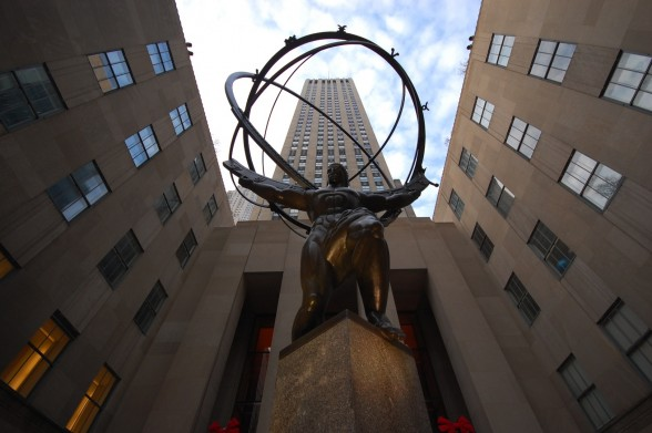 IMAGE Looking up at Rockefeller Center's Atlas statue in New York City. IMAGE
