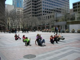 """IMAGE A flocking dance piece called """"Seeds of Compassion"""" performed in Seattle. IMAGE"""