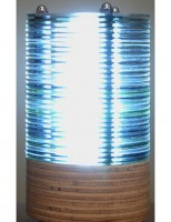 IMAGE Lamp made from a tower of old CDs IMAGE