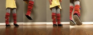 IMAGE Upcycled sweater becomes colorful legwarmers IMAGE