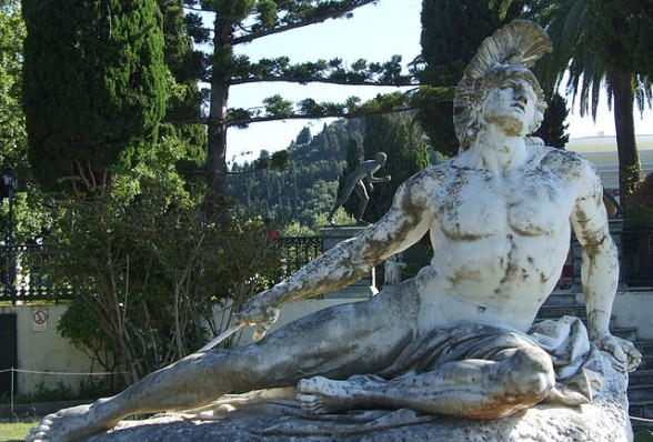IMAGE Photograph of the statue of Death of Achilles. Taken in the Achillion Gardens, Corfu IMAGE