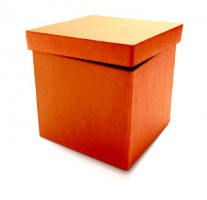 IMAGE A cardboard box with a slightly ajar lid. IMAGE