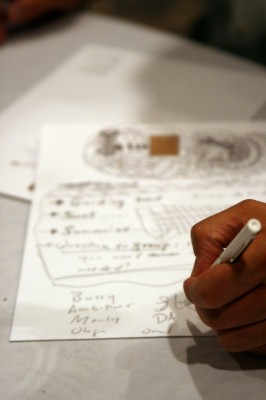 IMAGE Photo of someone's hand making doodles and notes during a meeting. IMAGE