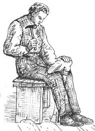 IMAGE A black and white sketch of a cobbler on his bench IMAGE
