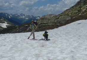 IMAGE Melanie on a snowfield in the Holy Cross Wilderness in Colorado IMAGE