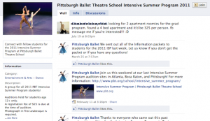 IMAGE Screenshot of a 2011 ballet intensive Facebook group. IMAGE