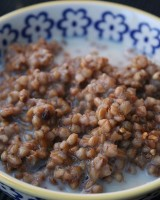 IMAGE Kasha cereal with milk and honey. IMAGE