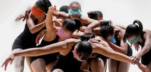 IMAGE Blindfolded dancers in a group IMAGE