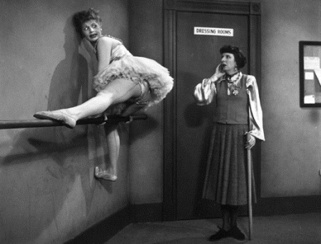 IMAGE I Love Lucy - Lucille Ball hangs on the ballet barre IMAGE