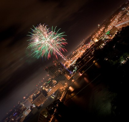 Fireworks over Grand Rapids by Eric Lanning