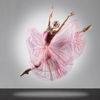A ballerina bursts into a leap framed by her large pink skirt and a halo of light.