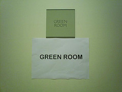 Photo of the sign on the green Green Room door.